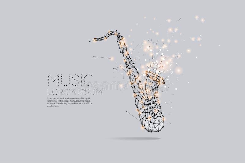 Cząsteczki, geometryczna sztuka, linia i kropka saksofon, royalty ilustracja