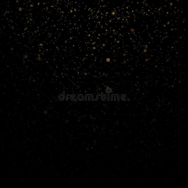 Cząsteczki narzuty skutka błyskotliwość złocisty rozjarzony magiczny połysk i gwiazdowy pył na czarnym tle 10 eps royalty ilustracja