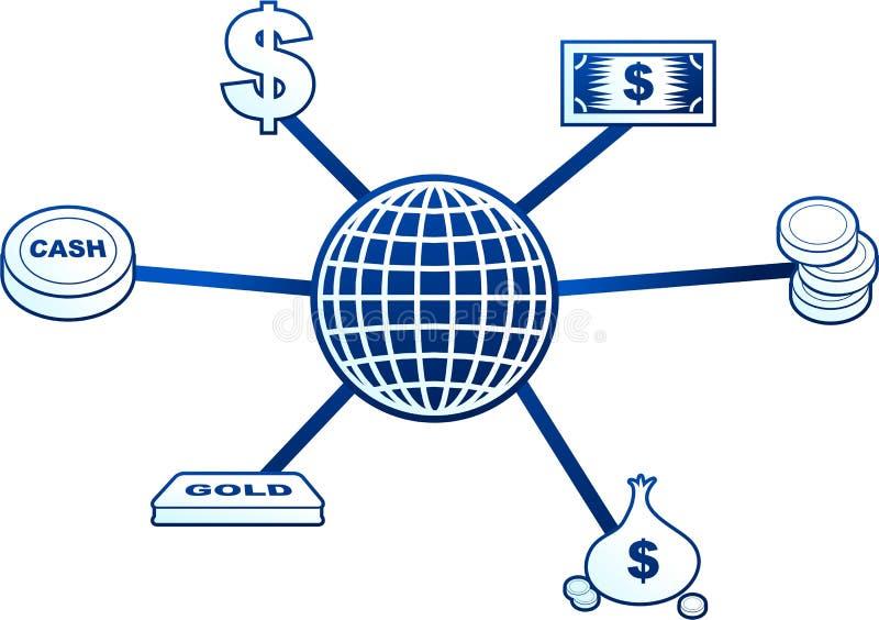 cząsteczki pieniądze royalty ilustracja