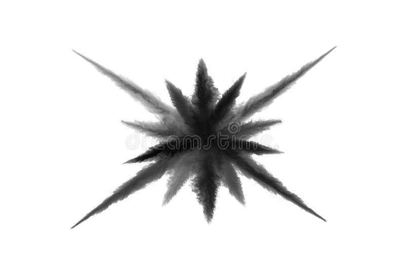 Cząsteczki węgiel drzewny na białym tle, abstrakta proszek splatted na białym tle zdjęcie stock