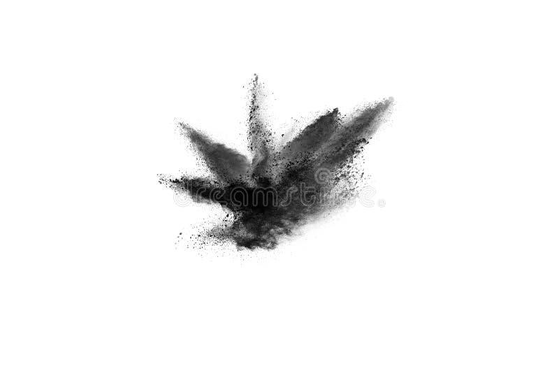 Cząsteczki węgiel drzewny na białym tle, abstrakta proszek splatted na białym tle obraz stock