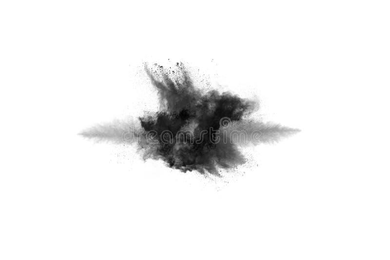 Cząsteczki węgiel drzewny na białym tle, abstrakta proszek splatted na białym tle obrazy stock