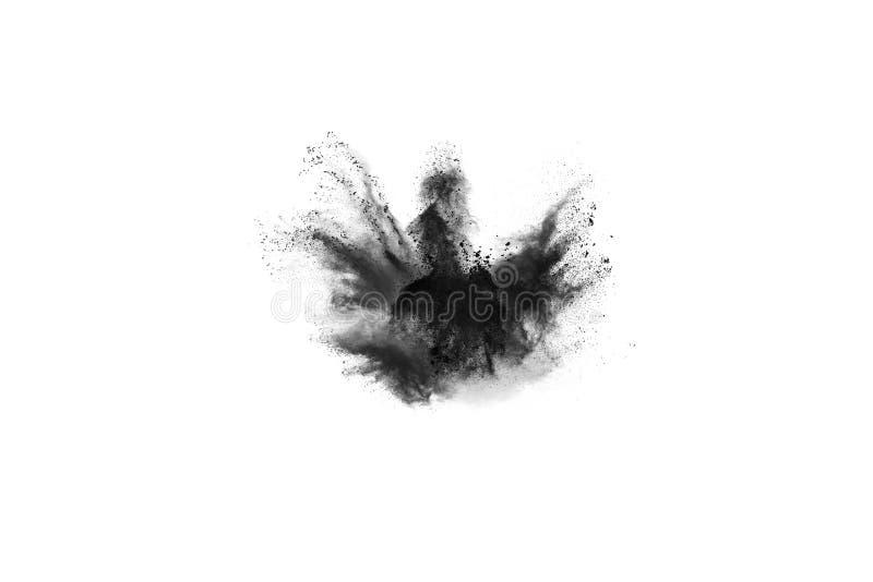 Cząsteczki węgiel drzewny na białym tle, abstrakta proszek splatted na białym tle obraz royalty free