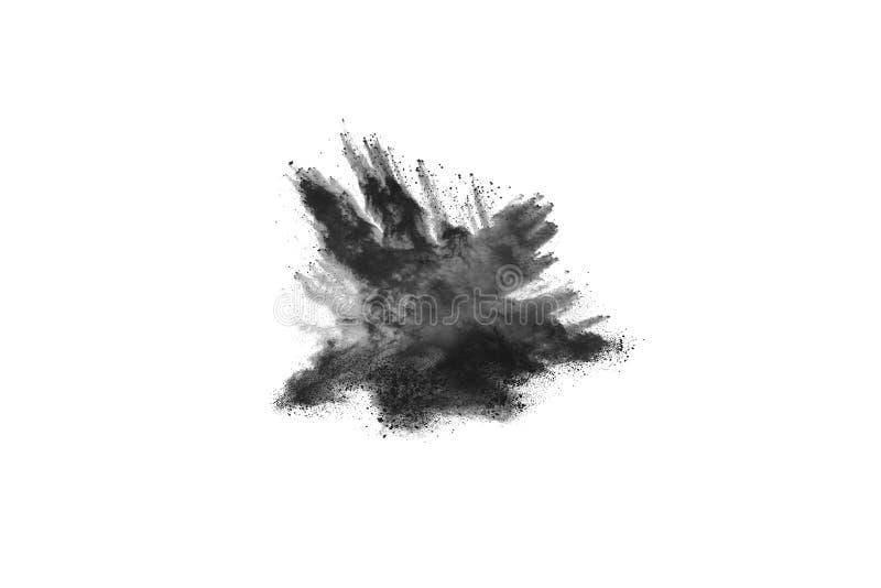 Cząsteczki węgiel drzewny na białym tle, abstrakta proszek splatted na białym tle zdjęcie royalty free