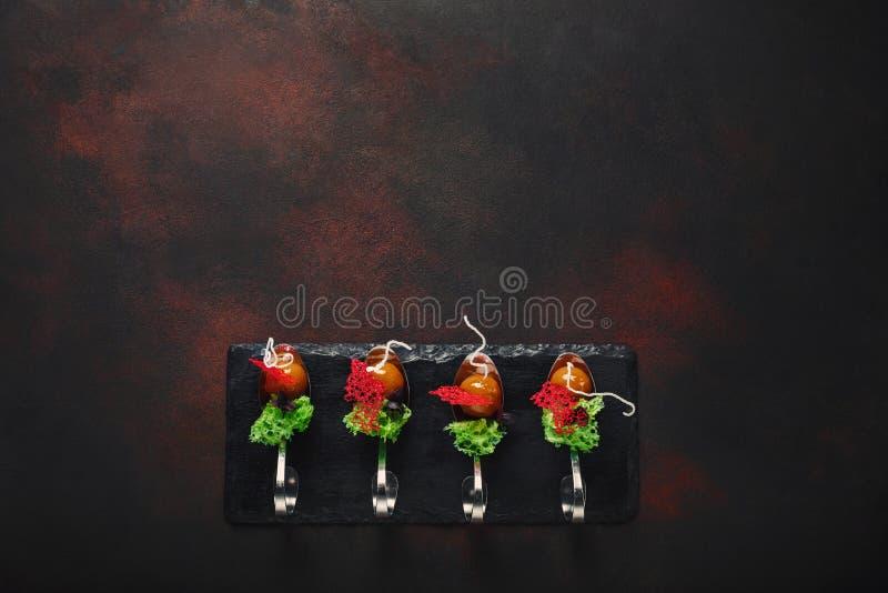 Cząsteczkowa nowożytna kuchni galantyny kaczka w łyżkach na kamieniu i r zdjęcie stock