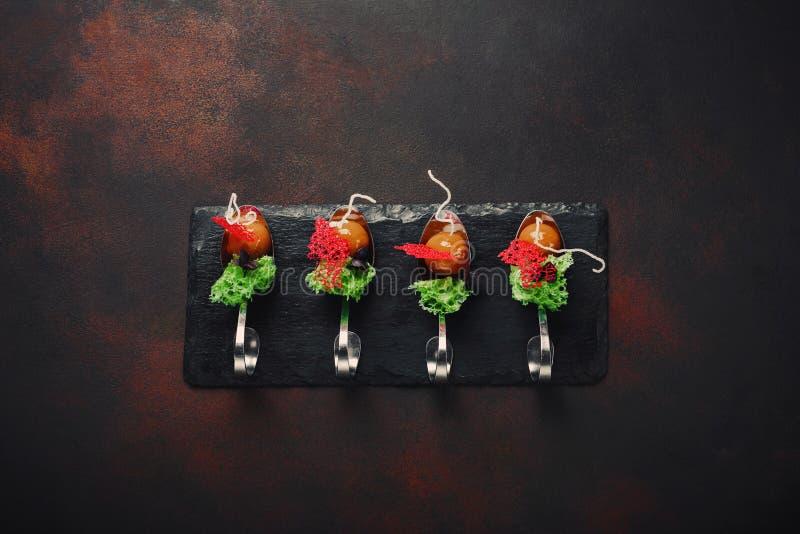 Cząsteczkowa nowożytna kuchni galantyny kaczka w łyżkach na kamiennym i ośniedziałym tle zdjęcia royalty free
