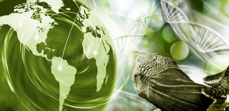 cząsteczkowa struktura, łańcuch dna, abstrakcjonistyczna planeta i żółw na zielonym tle, ilustracja wektor