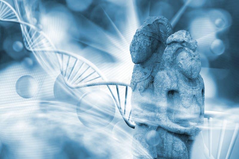 Cząsteczkowa struktura, DNA łańcuchy i antyczne kamienne rzeźby, ilustracji