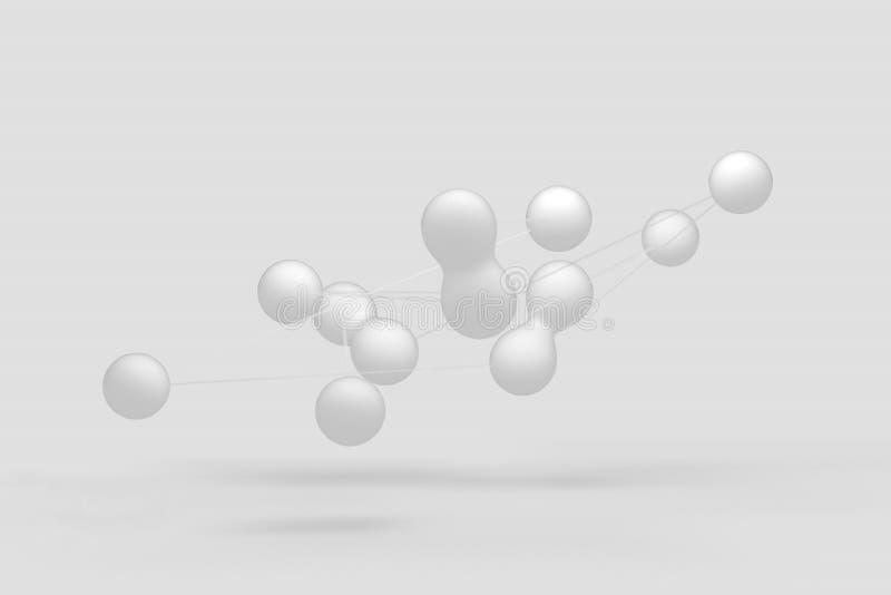 Cz?steczkowe wi?zi, round moleku?y ??cz? z each inny cienkimi niciami 3 d czyni? ilustracja wektor