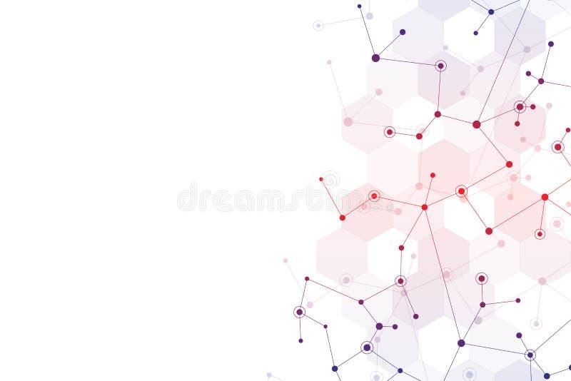 Cząsteczkowej struktury tło i sieć komunikacyjna lub neural Abstrakcjonistyczny tło molekuły DNA medyczny ilustracja wektor