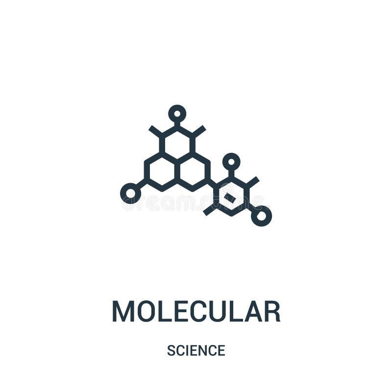 cząsteczkowy ikona wektor od nauki kolekcji Cienieje kreskową cząsteczkową kontur ikony wektoru ilustrację Liniowy symbol dla uży royalty ilustracja