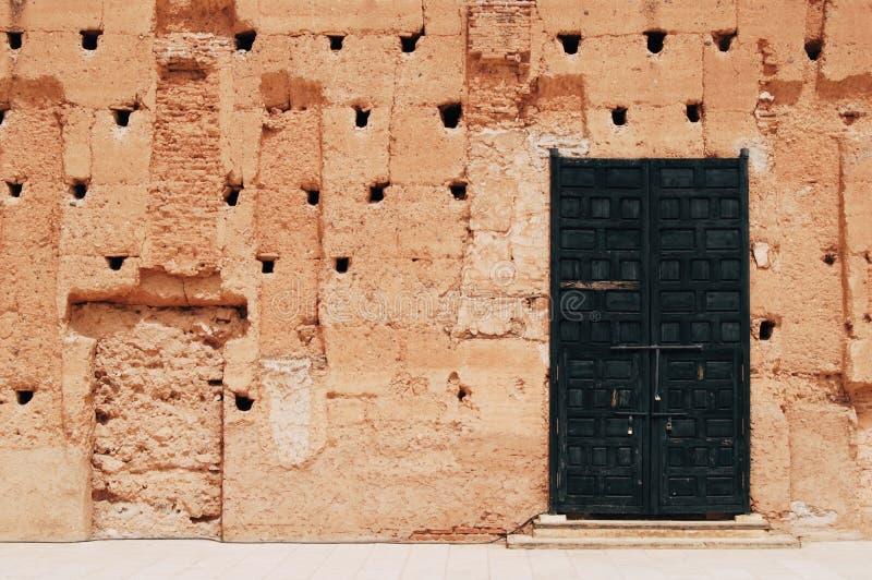 Część ściana w El Badi pałac zdjęcie stock
