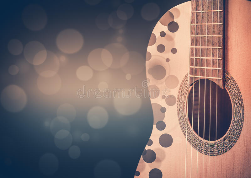 Część błękitna gitara akustyczna na czarnym tle ilustracja wektor