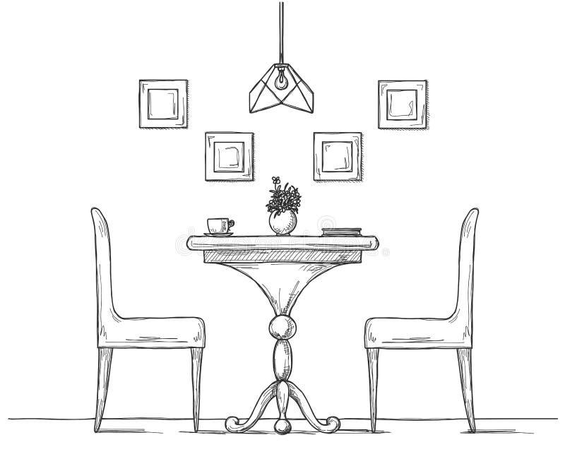 Część jadalnia przewodniczy okrągłego stół Na stołowej wazie kwiaty Ręka rysujący nakreślenie royalty ilustracja