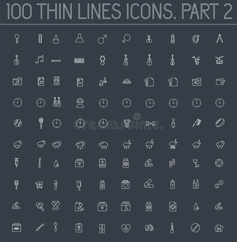 Część 2 kolekcj linii piktograma cienkiej ikony pojęcia ustalony tło Wektorowy szablonu projekt dla sieci i wiszącej ozdoby zasto ilustracji