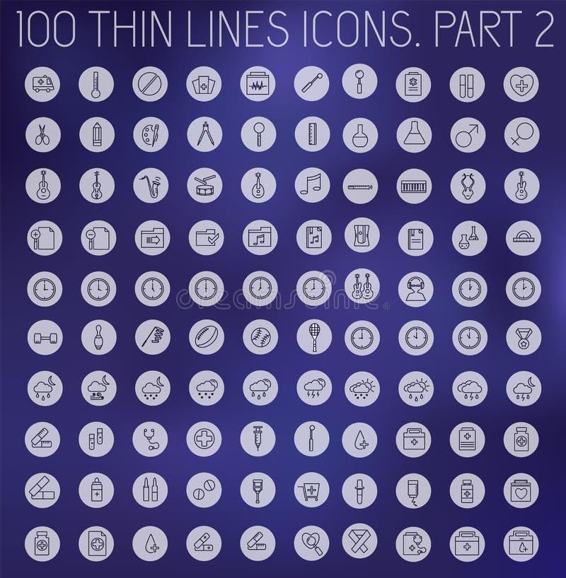 Część 1 kolekcji linii piktograma cienkiej ikony pojęcia ustalony tło Wektorowy szablonu projekt dla sieci i wiszącej ozdoby zast ilustracja wektor