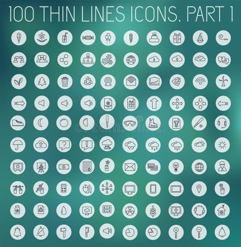 Część 1 kolekcji linii piktograma cienkiej ikony pojęcia ustalony tło Wektorowy szablonu projekt dla sieci i wiszącej ozdoby zast royalty ilustracja