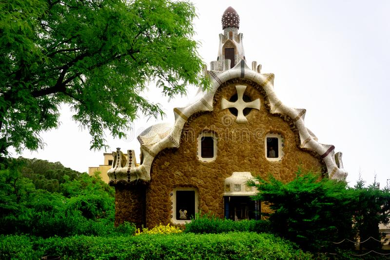 Część Parkowy Guell w Barcelona, Hiszpania zdjęcie royalty free