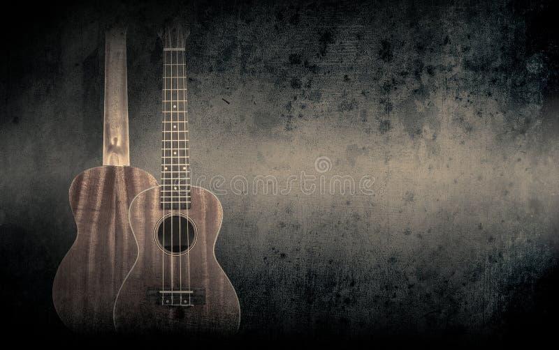Część pomarańczowa gitara akustyczna na czarnym tle ilustracji