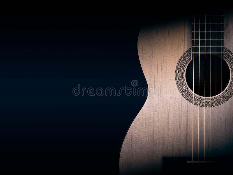 Część pomarańczowa gitara akustyczna na czarnym tle royalty ilustracja