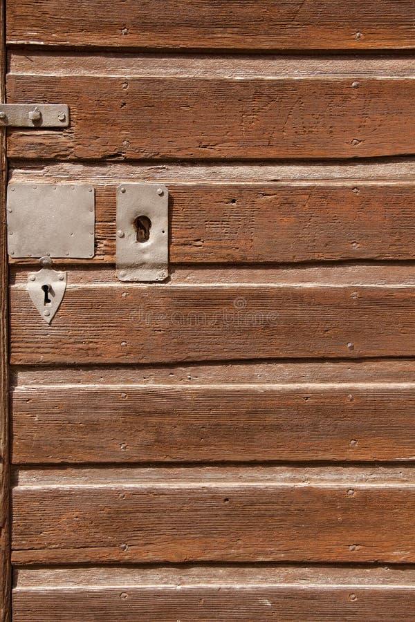 Część stary drewniany drzwi fotografia stock