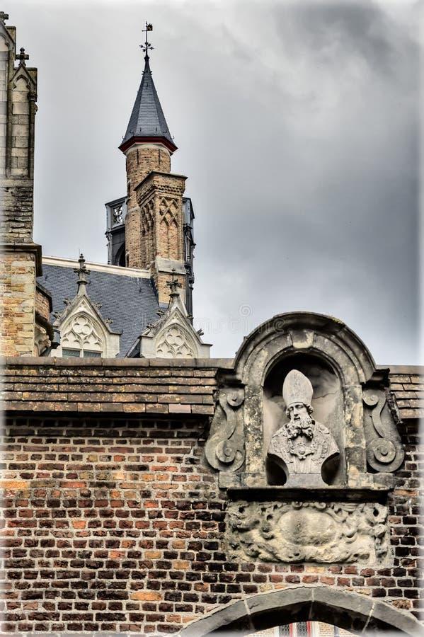 Część wnętrza katedry w Brugii, Belgia obraz royalty free