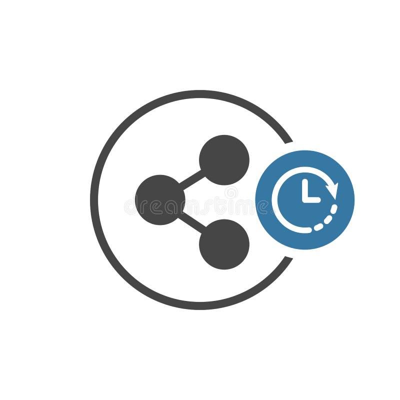 Części ikona z zegaru znakiem Dzieli ikonę i odliczanie, ostateczny termin, rozkład, planistyczny symbol ilustracja wektor