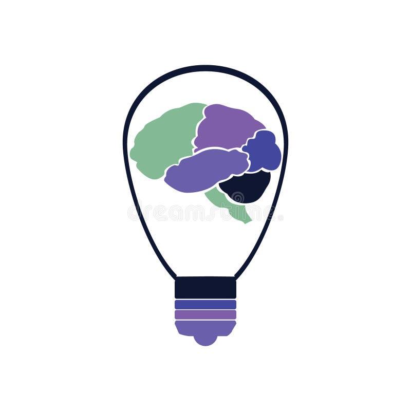 Części ludzki mózg wśrodku żarówki royalty ilustracja
