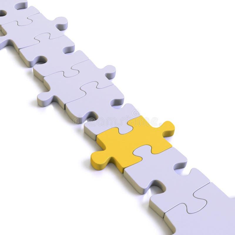 Części rozwiązanie z żółtym brakującym ogniwem lub łamigłówka ilustracji