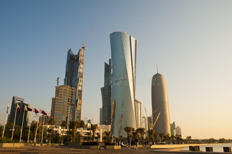 częściowa Doha linia horyzontu zdjęcia stock