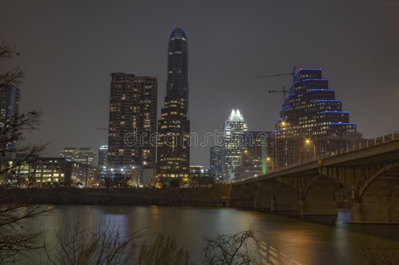 Częściowa linia horyzontu Austin, Teksas przy nocą obrazy stock