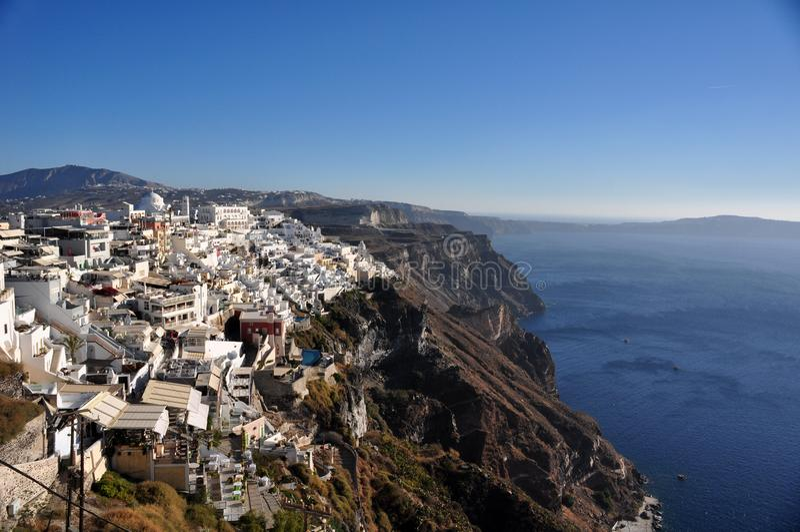 Częściowy widok Fira i kaldera Santorini wyspa Grecja zdjęcia royalty free