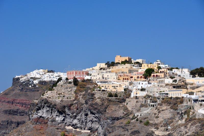 Częściowy widok Fira lub Thira na wyspie Santorini Grecja obraz stock