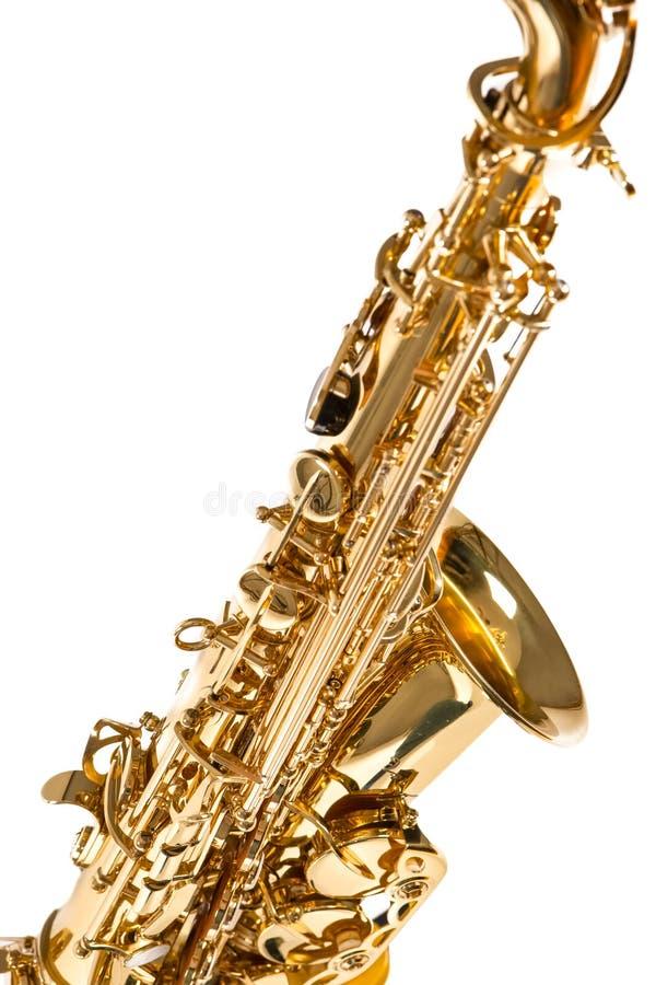 Częściowy widok Odizolowywający Nad Białym tłem Altowy saksofon zdjęcie stock