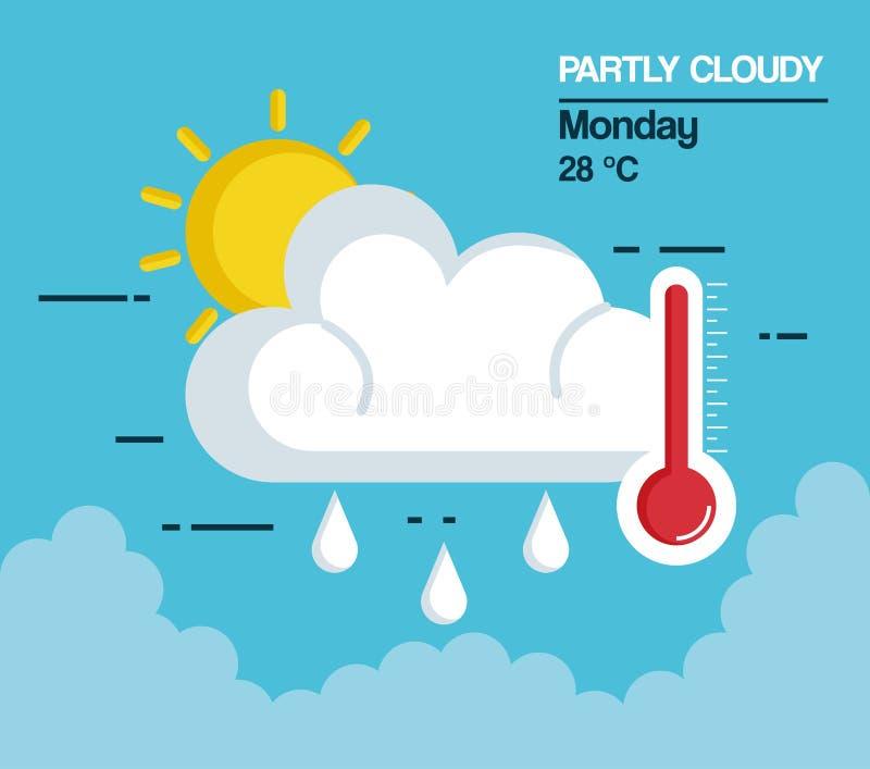 Częsciowo chmurna pogodowa ikona ilustracja wektor