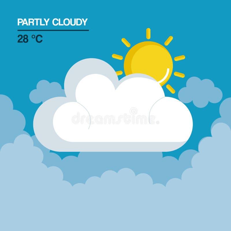 Częsciowo chmurna pogodowa ikona royalty ilustracja