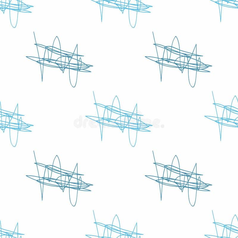 Częstotliwa abstrakcjonistyczna bazgranina rysująca ręcznie Prosty bezszwowy wzór z skrobaninami royalty ilustracja