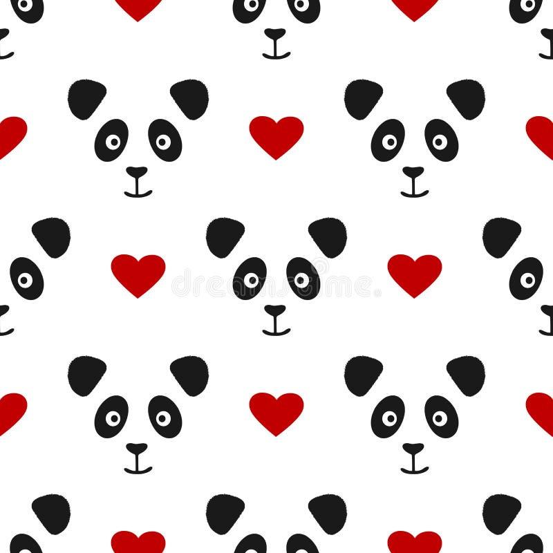 Częstotliwa pandy twarz, serce i dzieci deseniują bezszwowego ilustracji