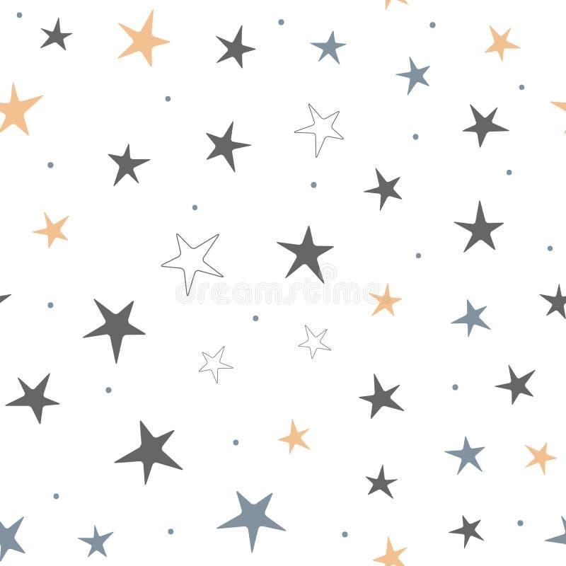 Częstotliwe gwiazdy i round kropki Gwiaździsty bezszwowy wzór dla dzieci ilustracja wektor