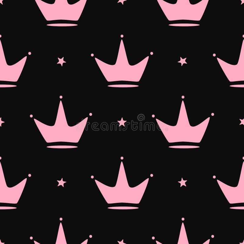 Częstotliwe korony i gwiazdy Girly bezszwowy wz?r ilustracji