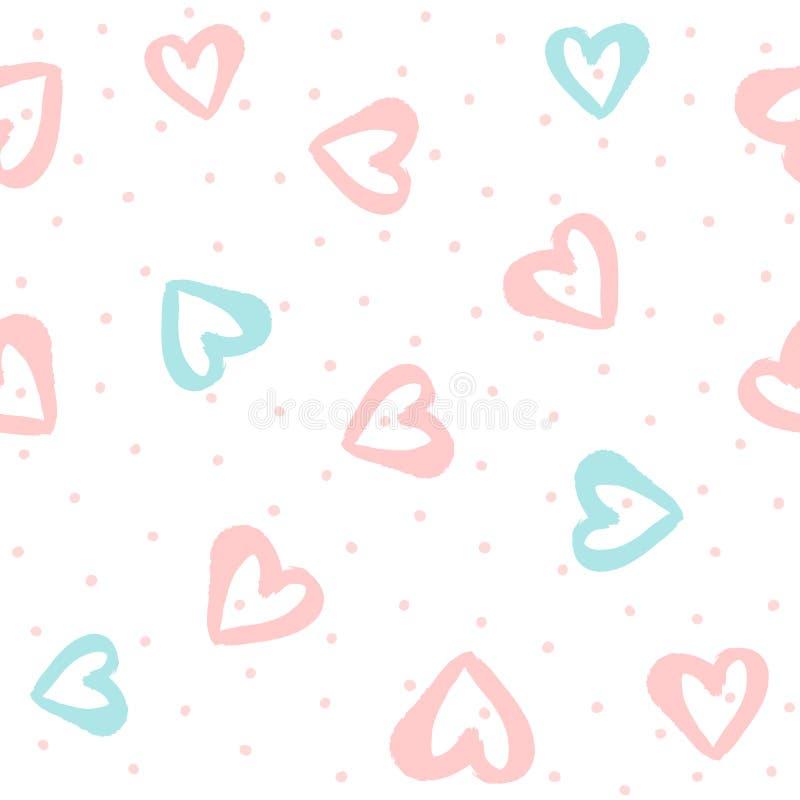 Częstotliwe round kropki, serca rysujący ręką z watercolour i szczotkują bezszwowy słodkie wzoru royalty ilustracja