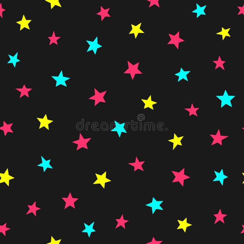 Częstotliwe rozrzucone jaskrawe gwiazdy Śliczny bezszwowy wzór dla dzieciaków Niekończący się dziecięcy druk royalty ilustracja