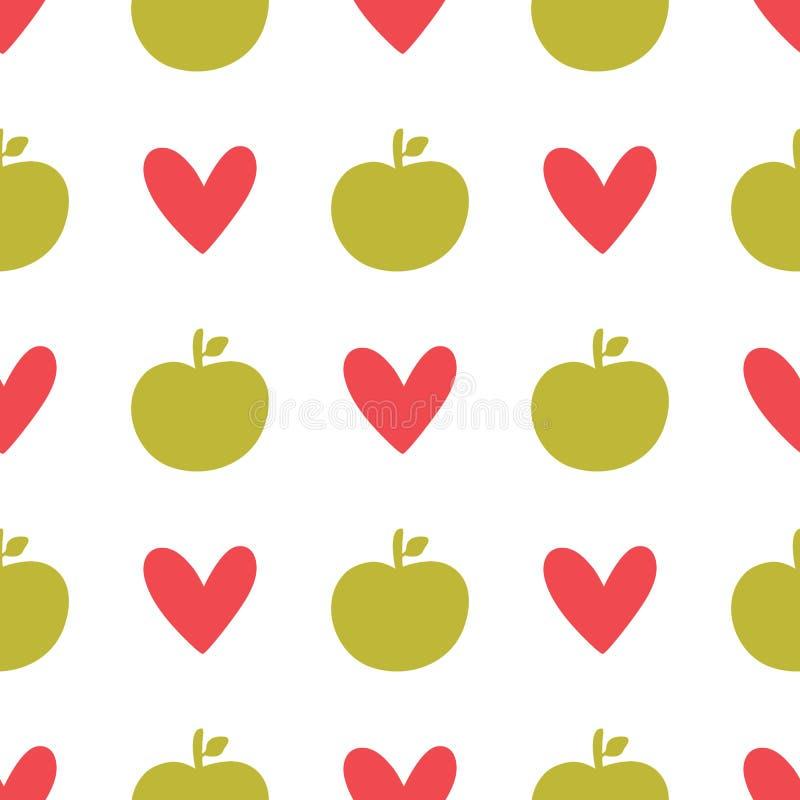 Częstotliwe sylwetki jabłka i serca Śliczny fruity bezszwowy wzór ilustracji