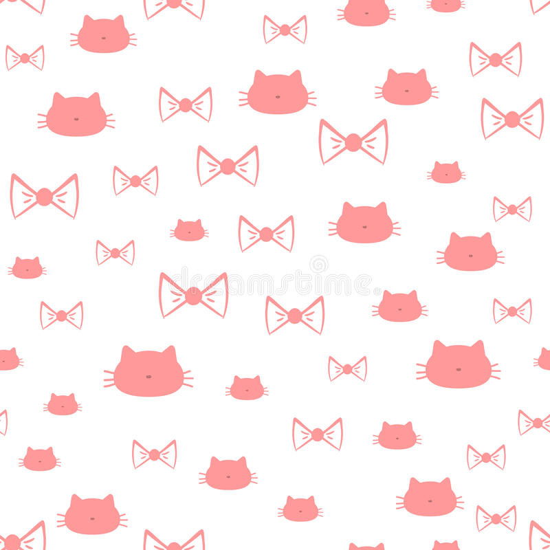 Częstotliwe sylwetki kota ` s przewodzą i łęki bezszwowy wzoru royalty ilustracja