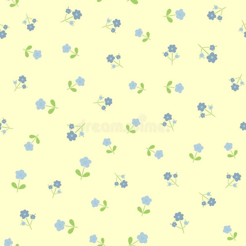 Częstotliwi śliczni kwiaty z liśćmi Bezszwowy kwiecisty wzór dla kobiecego i dziewczęcego projekta ilustracja wektor