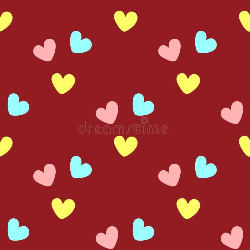 Częstotliwi coloured serca bezszwowy słodkie wzoru Prosty romantyczny druk ilustracji