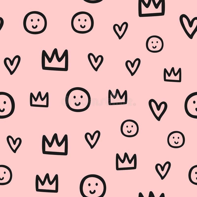 Częstotliwi kontury korony, serca i uśmiechy, Śliczny bezszwowy wzór dla dzieci Nakreślenie, doodle, skrobanina royalty ilustracja