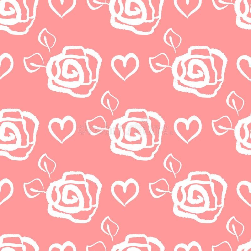 Częstotliwi kontury kwiaty róże i serca Kwiatu bezszwowy wzór dla kobiet i dziewczyn ilustracja wektor