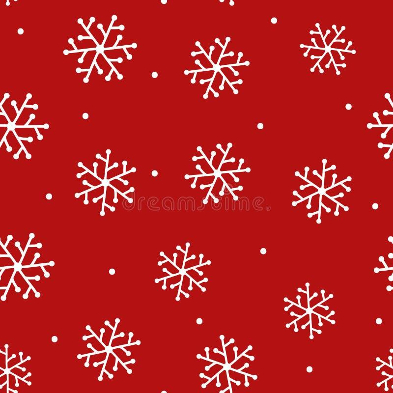 Częstotliwi płatki śniegu rysujący ręką i round kropką Nowego Roku seamle ilustracji