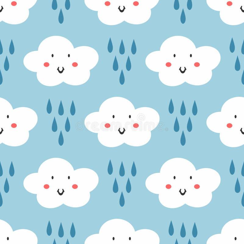 Częstotliwi raindrops i chmury z uśmiechać się twarze Śliczny bezszwowy wzór dla dzieciaków Śmieszny dziecko druk ilustracji